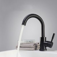 Wholesale water lever resale online - Modern Stainless Steel Rotate Hot Cold Water Basin Faucet Bathroom Kitchen Faucets Single Lever Black Basin Mixer