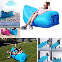 Wholesale lazy chairs beds resale online - Hot selling Inflatable Outdoor Lazy Couch Air Sleeping Sofa Lounger Bag Camping Beach Bed Beanbag Sofa Chair