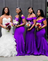 Wholesale open back sexy short wedding dresses online - 2019 Sexy Purple Mermaid Bridesmaid Dresses Off Shoulder Long Arabic Open Back Sweep Train Plus Size Maid Of Honor Gowns Wedding Guest Dress