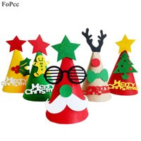 Wholesale christmas decoratives resale online - Christmas Hat DIY Nonwoven Fabric Handcraft Caps Red Green XMAS Series Kids Party Caps For New Year Decoratives Supplies