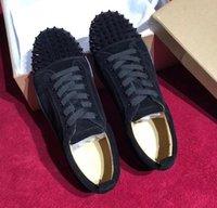 meias vermelhas baixo corte venda por atacado-Designer Red Bottom Spike Sock Sapatos Mulheres Red Sole Sapatilha Men Black Platform Spike Sapatos Casuais de Luxo Couro Camurça Low Cut Lace-Up Sapatos