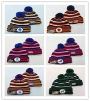 futbol takımı beanie toptan satış-Toptan Sideline Beanies Şapka Amerikan Futbolu 32 takım Spor kış yan çizgisi örgü bereler Beanie Örgü Şapka damla shippping nb001