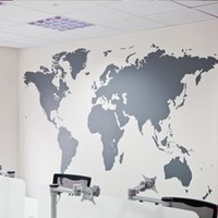 kartengehäuse großhandel-Großhandel Schwarz Große Weltkarte Wandaufkleber Abnehmbare Doppelseitige Muster Haus Dekoration Haus Tapete kostenloser versand