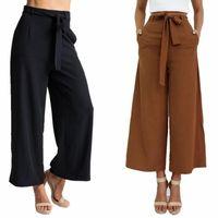 pantalones anchos de patas marrones al por mayor-2017 Pantalones nuevos Capris para mujer Pantalones casuales Cintura ancha Ancho pierna Puños acampanados con cintura en negro marrón S-XL Disponible