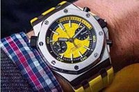 Wholesale automatic purple watch online - Luxury Brand Men s Watch Stainless CAL Automatic Chronograph Diameter mm Waterproof Yellow Dial Rubber Strap Mens Business Wristwatch