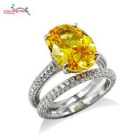 ingrosso set di gioielli in pietra gialla-COLLANA 2 anelli solitari in argento sterling 925 anelli per le donne 5ct ovale pietra gialla gioielli moda anello di fidanzamento impostato