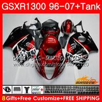 decalques da motocicleta azul preto venda por atacado-Corpo Para SUZUKI Hayabusa GSXR 1300 GSXR1300 96 02 03 04 05 06 07 preto vermelho escuro 24HC.7 GSX R1300 1996 2002 2003 2004 2005 2006 2007 Carenagem