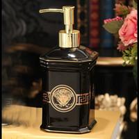 dispensador para baño al por mayor-Dispensador de jabón de cerámica de lujo Mano Dispensador de jabón líquido Jabón líquido Dspenser Set de baño S01