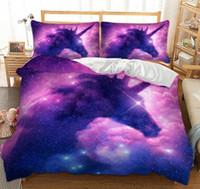 pembe kız yatakları toptan satış-Galaxy Unicorn Yatak Seti Çocuklar Kızlar Uzay Nevresim 3 Parça Pembe Mor Sparkly Unicorn Yatak Örtüsü