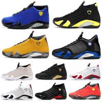 caramelos zapatillas de deporte al por mayor-14 shoes Nuevo 14 14s Desert Sand Black Toe Fusion Varsity Rojo Suede Thunder Men Zapatos de baloncesto Cool Grey DMP Candy Cane Sneakers