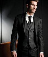 terno slim fit schwarz großhandel-2019 schwarz formale herren anzüge eine taste bräutigam smoking 3 stück custome homme terno anzug slim fit hochzeit prom blazer (jacke + pants + weste)