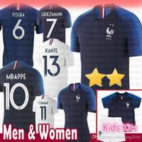 kits welt großhandel-billig Männer Frauen Kinder Kits 2 Sterne Fußball Jersey 10 MBAPPE 6 POGBA 7 GRIEZMANN KANTE DEMBELE GIRQVD LEMAR Kampf-Weltmeisterschaft Fußball Hemden