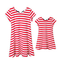 ingrosso vestiti 4 luglio-Mother Kids Flag Vestito a strisce Dot Print Dress Bandiera americana Independence National Day USA 4 luglio Stripe Family Matching Outfit S-3XL