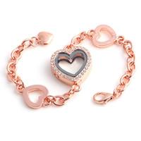 ingrosso fascini galleggianti braccialetti di cuore-Monili di modo dell'acciaio inossidabile di cristallo cuore espandibile galleggiante medaglione braccialetto Bangle raccordo con fascini galleggianti fai da te per le ragazze