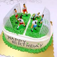 decoraciones del partido de fútbol al por mayor-8pcs / Set Juego de fútbol Scene Cake Topper Birthday Cake Kids Soccer Baking Cupcake Party Decoration Tool