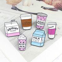 mini broschen china großhandel-Cup-Sammlung! Mini Cartoon Icecream Float Kaffeetasse Hexe brauen Milch Box Broschen Hexe Revers Pins Wicca Witchcraft Schmuck