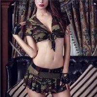 string röcke großhandel-8 Stücke Frauen Halloween Kostüme Rollenspiel Sexy Uniform Zweiten Weltkrieg Top Rock mit Hut Tanga Bh