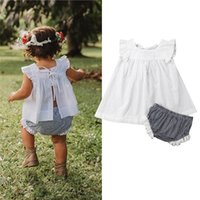 Wholesale girl clothes online - Newborn Baby Girls Princess Outfits Summer Cotton Clothes Ruffles Fly Sleeve T Shirt Plaid Elastic Waist Shorts Sets M