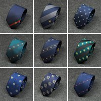 Wholesale new color ties resale online - New Variety of Men Tie Fashion Diagonal Stripes Personality Embroidery Color Matching Bee Pattern Wild Tie Men Formal Business