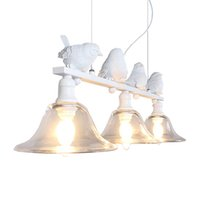 candelabros de restaurante contemporáneo al por mayor-Restaurante contemporáneo y contratado lámpara rural droplight tres personalidad creativa bar led lámparas aves droplight Resina ave araña