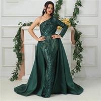 payet saten kayışlar toptan satış-Saten Mermaid Abiye Pırıltılı Çıkarılabilir Etek Koyu Yeşil Bir Omuz Uzun Kollu Pullu Balo Abiye Kemer Ayrılabilir Tren Lüks