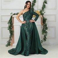 cinturones de satén de lentejuelas al por mayor-Sirena de satén vestido de noche brillante desmontable falda verde oscuro de un hombro manga larga con lentejuelas Vestidos de baile de la correa desmontable de tren de lujo
