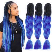 Wholesale two tone synthetic braiding hair resale online - Ombre Xpression Braiding Hair Two Tone Jumbo Crochet Braids Synthetic Hair Extensions Inches Box Braid Kanekalon Braiding Hair