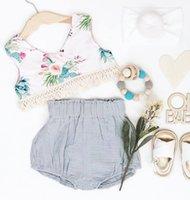 ingrosso pantaloni di lino per i bambini-estate nuove ragazze di fiore nappa pizzo volant top camicia bambini biancheria pantaloncini di cotone 2 pz set 0-2 anni libera la nave