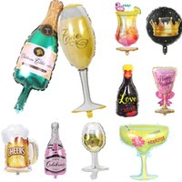 Wholesale costume glasses for sale - Group buy Champagne Bottle Aluminum Foil Balloon Cartoon Birthday Party Wine Glass Decoration Balloons Wedding Supplies Christmas DHL WX9