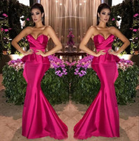 Wholesale gold mermaid strapless resale online - Charming Fuchsia Evening Dresses Satin Mermaid Long Arabic Sweetheart Ruched Floor Length Formal Prom Dresses Party Gowns