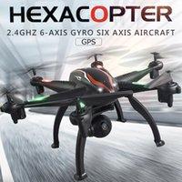 dronlar w kameralar toptan satış-L100 GPS Uçağı w / 1080 P Geniş Açı WiFi FPV Kamera 2.4G 6-axis RC Hexacopter
