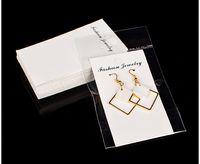jóias pendurado cartões de exibição venda por atacado-100 pçs / lote Kraft Jóias Big Brinco Cartão com Saco de OPP 5x10 cm Artesanato Cartão Branco Pendurar Tag Exibe Jóias