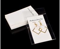 ingrosso visualizzazione delle carte appendenti per gioielli-100pcs / lot Kraft Jewelry Grande orecchino con OPP Bag 5x10cm Craft White Card Hang Tag Jewelry Display