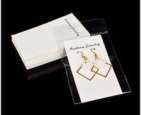 ohrring display hang karten großhandel-100pcs / lot Kraft-Schmuck-große Ohrring-Karte mit OPP-Beutel 5x10cm Handwerks-weiße Karte Fallumbau-Schmuck-Anzeigen