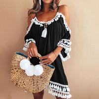 vestido de alça solta venda por atacado-Mulheres de Renda Branca Vestido Casual Spaghetti Strap Tassel Patchwork Vestido Solto Plus Size XXXL Vestido de Verão
