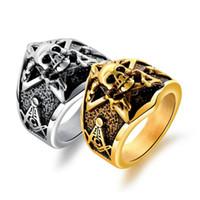 einzigartige schädelringe großhandel-Schädel Herren Ring einzigartige Punk Gothic Titan Edelstahl Ringe für Männer Schmuck