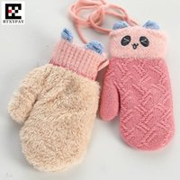 Wholesale knit thick wool mittens resale online - 20pair Children Winter Warm Gloves Boys Girls Cute Cartoon Wool Plus Velvet Knitted Mittens Thick Soft Halter Gloves for age