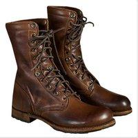 media bota de seguridad al por mayor-Hombres Botas de vaquero de lujo de diseño en los zapatos de Martin mitad bota de seguridad de trabajo de cuero de la vendimia de los botines con cordones de la zapatilla de deporte de los botines US13