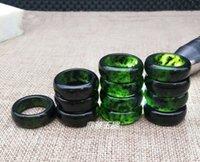 anéis de jade para mulheres verde venda por atacado-Natural Xinjiang Verde Escuro Jade Anéis Anéis Homens e Mulheres Verde Escuro Jade Anéis Dedos