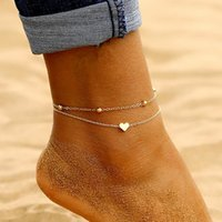 Wholesale beach ankle jewelry resale online - Simple Heart Ankle Layering Pendant Anklet Beaded Foot Jewelry Summer Beach Anklets On Foot Ankle Bracelets For Women Leg Chain