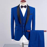 Wholesale royal blue mens ties resale online - Royal Blue Groom Tuxedos Black Shawl Lapel Mens Wedding Tuxedos Fashion Man Jacket Blazer Piece Suit Jacket Pants Vest Tie