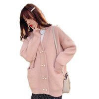 ropa exterior coreana para mujeres al por mayor-2019 otoño del resorte de las mujeres de Corea del suéter de punto flojo de Harajuku caliente Cardigan Abrigos Mujer Colegio casual de manga larga Coats A88