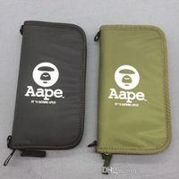 brieftaschenhalter japan großhandel-2018 Kartenhalter Aape Ape Wallet Passport Bags Aufbewahrungstaschen Schwarz und Grün Japan Style Fashion