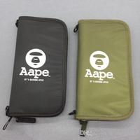 ingrosso portafogli giapponese-2018 Titolare della carta Aape Ape Wallet Borse passaporto Portafogli di archiviazione in stile Giappone e verde