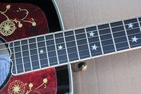 Wholesale hollow body acoustic for sale - 43 Acoustic Tobacco Sunburst Guitarra com Ebnoy Fretboard Pentagrama Embutimento Flame bege Veneer oferecendo serviços personalizados