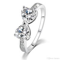 diamante rhinestone cz venda por atacado-Anéis de casamento Por Atacado Coreano Moda Traje Jóias Cubic Zirconia Strass CZ Anéis Coração Australiano Anéis De Cristal De Diamante