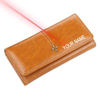Wholesale leather cell phone cases for sale – best Personalised Woman s Wallet Free Engraving Name PU Leather Money Case Change Purse Long Style Waxed Leather Card Holder