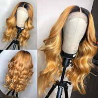 Wholesale wig ombre blonde wavy for sale - Honey Blonde Human Hair Wig With Baby Hair Preplucked Glueless Lace Front Wig wavy Remy Hair Deep Part Lace wigs