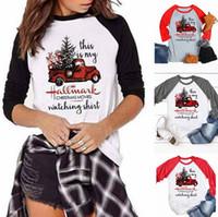 ingrosso camion superiori-Maglia a manica lunga di Natale T-shirt o lettera pullover collo autunno casuale Tops T-shirt camion Tees camicette Blusas Abbigliamento Tee LJJ-AA3186
