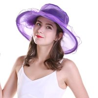 Wholesale white organza hats resale online - Women s Garden Sun Hats Foldable Silk Wide Brim Hat with Floral Candy Colors Sun Shading Organza Hat Formal Style for Elegant Female